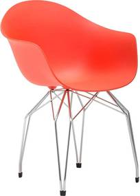 Goossens Eetkamerstoel Ta rood kunststof met arm, modern design