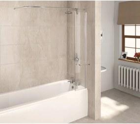 Aqualux Aqua 6 badscherm 30x150cm met rail zilver profiel en helder 6mm Glas 1160078