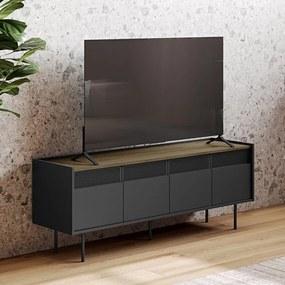 TemaHome Radio Zwart Tv-meubel Met Walnoot Blad - 160x43x60cm.