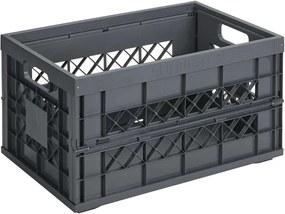 Square vouwkrat 45 liter - antraciet - 28,4x35,4x53 cm - Leen Bakker