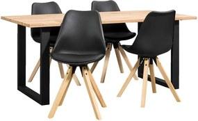 Eethoek Tibor Verdal (tafel met 4 stoelen) - zwart - Leen Bakker