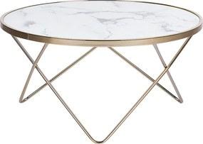 Salontafel marmer-look wit/goud MERIDIAN II
