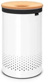 Brabantia wasbox 60 liter met kurkendeksel en uitneembare waszak white 104404