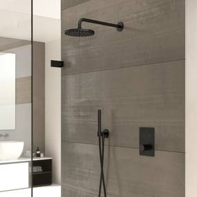 Cobber IBS 23 inbouw doucheset - geborsteld nikkel - met staafhanddouche - 20cm hoofddouche - met plafondbuis 30cm - wandsteun met uitlaat
