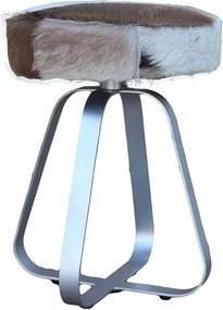 HSM Collection kruk - geitenhuid - metalen poot - 35x45x35 cm - Leen Bakker