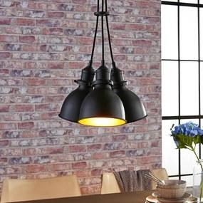 3-lichts hanglamp Lira, zwart en goud - lampen-24