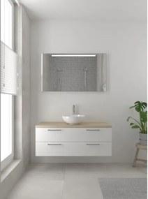 Bruynzeel Combo badmeubelset 120x45cm 2 wasbakken 2 lades met spiegel met softclose ceramic mat wit 123102603