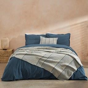 Sena dekbedset met 2 kussenhoezen van biologisch katoen, tweepersoons, indigoblauw