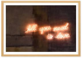 All You Need Is Love neon typografie, ingelijste print, A2, meerkleurig
