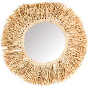 Spiegel met raffia rand - ⌀55 cm