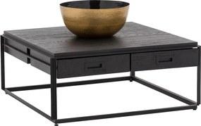 Goossens Excellent Salontafel Elios vierkant, hout eiken zwart, elegant chic, 90 x 38 x 90 cm