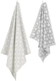 Keukendoek - 50 X 50 - Katoen - Wit/grijs Bloemen (lichtgrijs)
