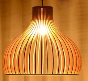 Nimes Houten Design Hanglamp, E27 Fitting, ⌀45cm, Naturel