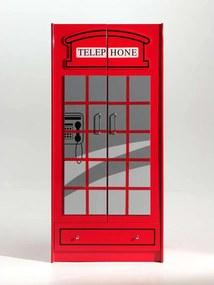 Vipack 2-deurs kledingkast Telefooncel London - rood - 190x90x56 cm - Leen Bakker
