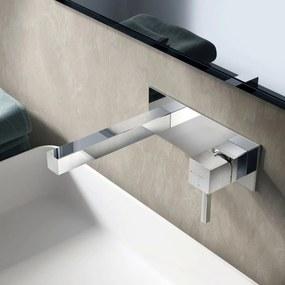 Wastafelkraan Inbouw Hotbath Bloke Mengkraan Vierkant Geborsteld Nikkel 1 Greeps Rechte Uitloop