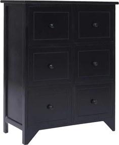 Bijzetkast met 6 lades 60x30x75 cm paulowniahout zwart