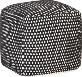 Poef geweven ontwerp 45x45x45 katoen zwart en wit
