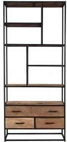 Nancy's Ridgewood Kabinet - Opbergkast - Kast met 3 Lades en 4 planken - Oud hout - 90 x 40 x 200 cm