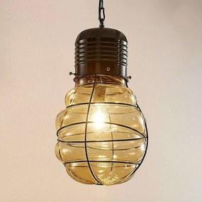 Hanglamp Maluka met barnsteenkleurig glas