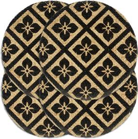 Placemats 4 st rond 38 cm jute zwart