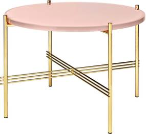 Gubi TS Table Glass Bijzettafel Brass 55cm Vintage Red