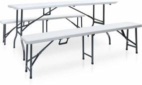 Tuintafel met 2 bankjes inklapbaar 180 cm staal en HDPE wit