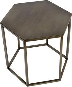 Atmooz by Charrell   Bijzettafel Hexa diameter 52 cm x hoogte 45 cm bronskleurig bijzettafels metaal meubels tafels   NADUVI outlet
