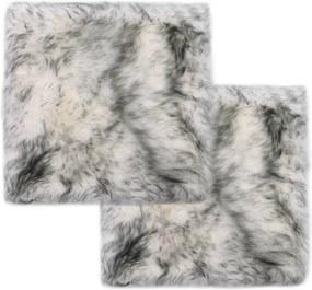 Stoelkussens 2 st 40x40 cm schapenvacht gemêleerd donkergrijs