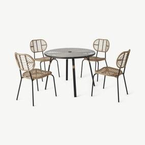 Swara 4-persoons ronde eettafelset voor buiten, rotan en glas