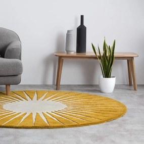 Vaserely rond wollen vloerkleed 200 cm, chartreusegeel