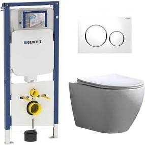 Geberit UP720 Toiletset - Inbouw WC Hangtoilet Wandcloset Rimfree - Beauti Flatline Sigma-20 Wit