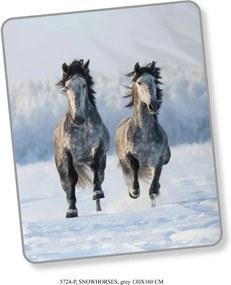 Good Morning plaid Snowhorses - grijs - 130x160 cm - Leen Bakker