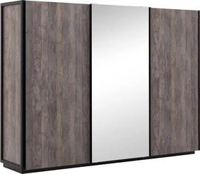 Goossens Kledingkast Porte, 280 cm breed, 216 cm hoog, 2 schuifdeuren en 1x spiegel schuifdeur midden