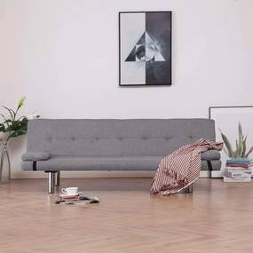 Medina Slaapbank met twee kussens polyester lichtgrijs