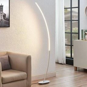 LED gebogen vloerlamp Nalevi, geborsteld zilver - lampen-24