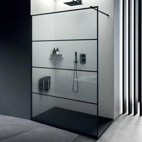 Inloopdouche Lacus Tremiti Wall 170x200 cm Helder Glas Stabilisatiestang Zwart