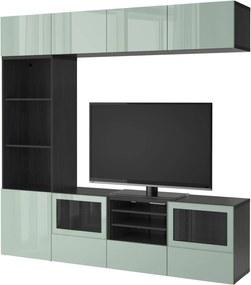 BESTÅ Tv-opbergcombi/vitrinedeuren zwartbruin /hoogglans/licht grijsgroen helder glas