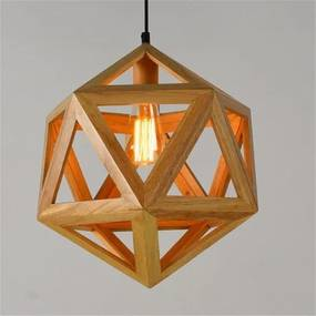 Houten Design Hanglamp, E27 Fitting, 40x40cm, Naturel
