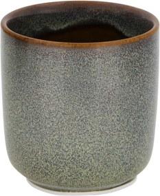 Bloempot Ø6.5x6.5 - Reactief Glazuur - Groen (grijs)