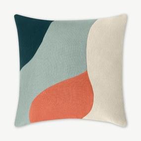 Favreau Linen Blend Cushion, 50x50cm, Blue, Mint and Coral