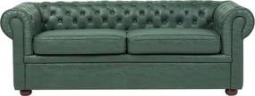 Driezitsbank leather-look groen CHESTERFIELD