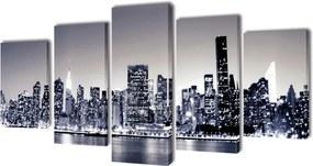 Canvasdoeken monochroom New York skyline 100 x 50 cm