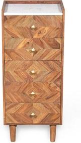 Ladekast Van Sheesham En Marmer - 45x35x105cm.