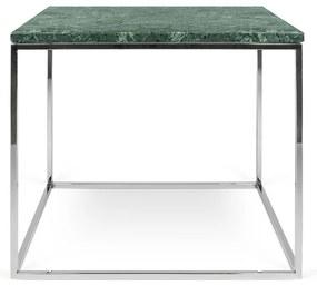 TemaHome Gleam Marble Bijzettafel Van Groen Marmer - Chromen Onderstel - 50 X 50cm.