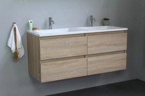 Luuk badmeubel - 120cm - acryl wastafel - 2 kraangaten - eiken - zonder spiegel