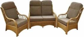 Sorrento Rieten serre meubels - set van 2 stoelen en een bank - Bruin