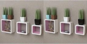 Wandplanken kubus 6 st wit en roze