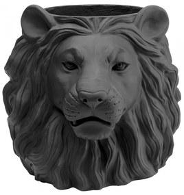Kare Design Lion Black Leeuwenkop Plantenbak Zwart