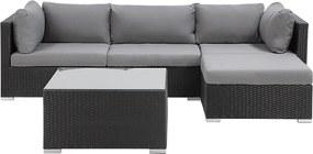 Loungeset wicker zwart SANO II