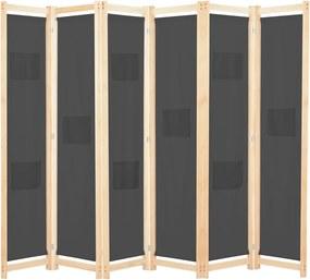 Kamerscherm met 6 panelen 240x170x4 cm stof grijs